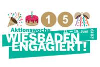 logo aktionswoche wiesbaden engagiert 15 jahre geburtstag