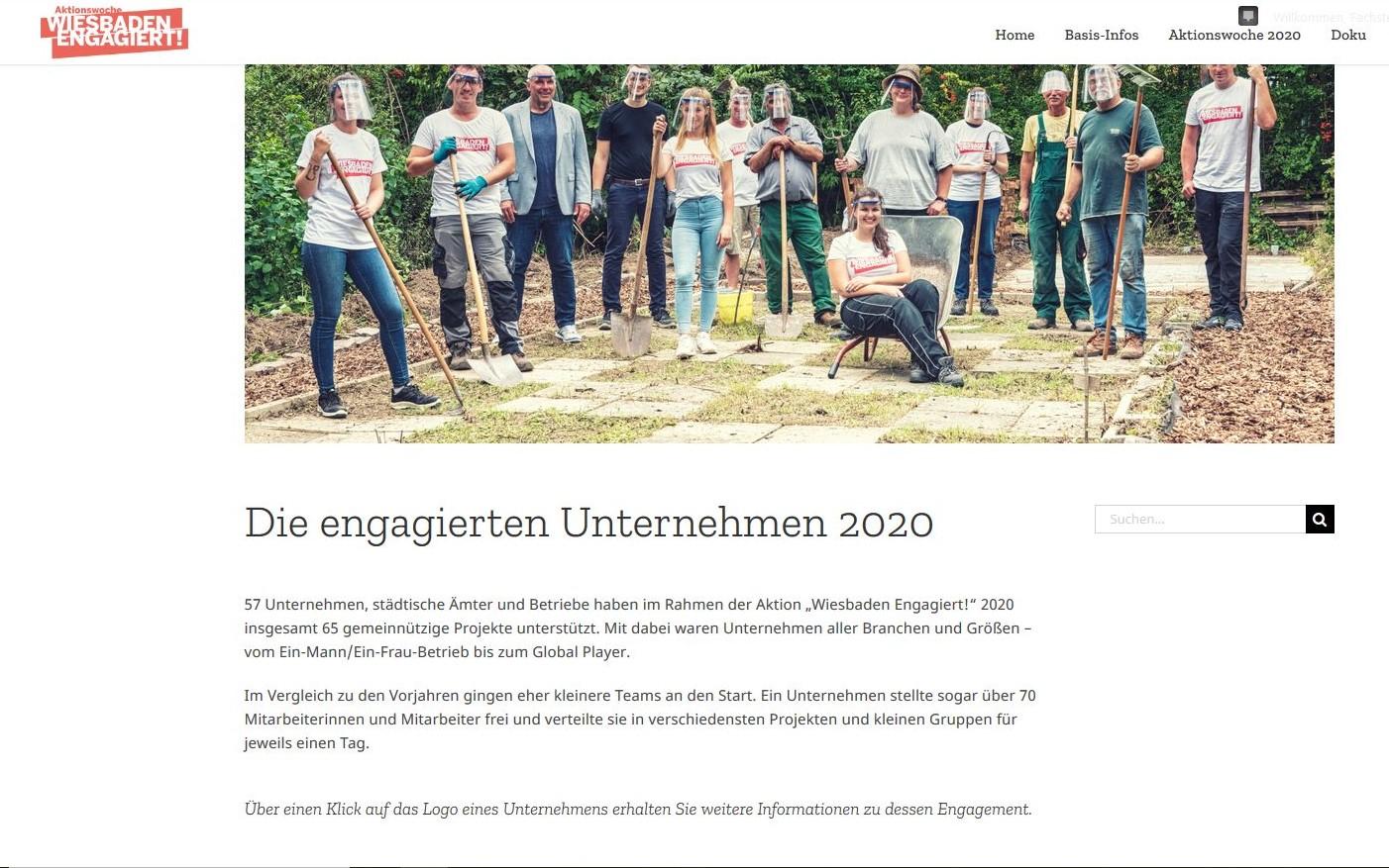 Screeenshot engagierte Unternehmen Doku 2020